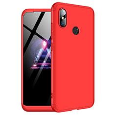 Coque Plastique Mat Protection Integrale 360 Degres Avant et Arriere Etui Housse pour Xiaomi Redmi Note 6 Pro Rouge
