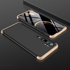 Coque Plastique Mat Protection Integrale 360 Degres Avant et Arriere Etui Housse R01 pour Xiaomi Mi Note 10 Pro Or et Noir