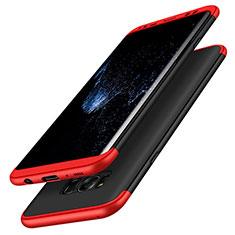 Coque Plastique Mat Protection Integrale 360 Degres Avant et Arriere M03 pour Samsung Galaxy S8 Rouge et Noir