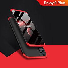 Coque Plastique Mat Protection Integrale 360 Degres Avant et Arriere pour Huawei Enjoy 9 Plus Rouge et Noir