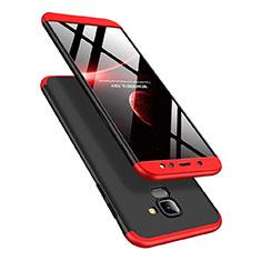 Coque Plastique Mat Protection Integrale 360 Degres Avant et Arriere pour Samsung Galaxy A6 (2018) Dual SIM Rouge et Noir
