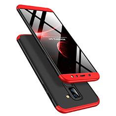 Coque Plastique Mat Protection Integrale 360 Degres Avant et Arriere pour Samsung Galaxy A6 Plus Rouge et Noir