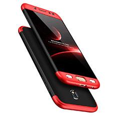 Coque Plastique Mat Protection Integrale 360 Degres Avant et Arriere pour Samsung Galaxy J7 Pro Rouge et Noir