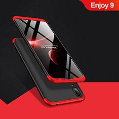 Coque Plastique Mat Protection Integrale 360 Degres Avant et Arriere Q01 pour Huawei Enjoy 9 Rouge et Noir