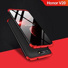 Coque Plastique Mat Protection Integrale 360 Degres Avant et Arriere Q01 pour Huawei Honor V20 Rouge et Noir