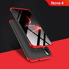 Coque Plastique Mat Protection Integrale 360 Degres Avant et Arriere Q01 pour Huawei Nova 4 Rouge et Noir