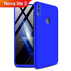Coque Plastique Mat Protection Integrale 360 Degres Avant et Arriere Q01 pour Huawei Nova Lite 3 Bleu
