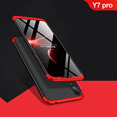 Coque Plastique Mat Protection Integrale 360 Degres Avant et Arriere Q01 pour Huawei Y7 (2019) Rouge et Noir