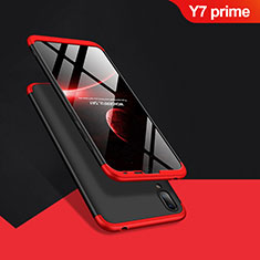 Coque Plastique Mat Protection Integrale 360 Degres Avant et Arriere Q01 pour Huawei Y7 Prime (2019) Rouge et Noir