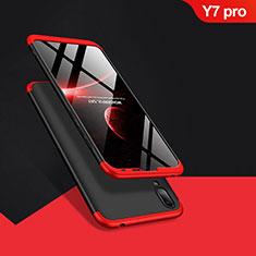 Coque Plastique Mat Protection Integrale 360 Degres Avant et Arriere Q01 pour Huawei Y7 Pro (2019) Rouge et Noir