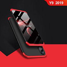 Coque Plastique Mat Protection Integrale 360 Degres Avant et Arriere Q01 pour Huawei Y9 (2019) Rouge et Noir