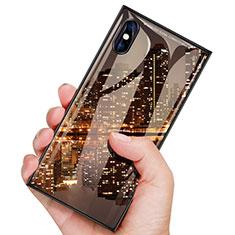 Coque Plastique Protection Integrale 360 Degres Avant et Arriere Miroir Etui Housse pour Apple iPhone X Noir