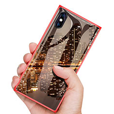 Coque Plastique Protection Integrale 360 Degres Avant et Arriere Miroir Etui Housse pour Apple iPhone Xs Max Rouge