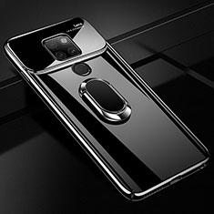 Coque Plastique Protection Integrale 360 Degres Miroir Etui Housse avec Support Bague Anneau Aimante Magnetique pour Huawei Mate 20 Noir