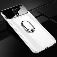 Coque Plastique Protection Integrale 360 Degres Miroir Etui Housse avec Support Bague Anneau Aimante Magnetique pour OnePlus 7 Blanc
