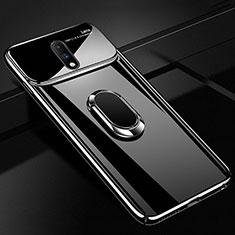 Coque Plastique Protection Integrale 360 Degres Miroir Etui Housse avec Support Bague Anneau Aimante Magnetique pour OnePlus 7 Noir