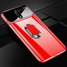 Coque Plastique Protection Integrale 360 Degres Miroir Etui Housse avec Support Bague Anneau Aimante Magnetique pour OnePlus 7 Rouge