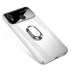 Coque Plastique Protection Integrale 360 Degres Miroir Etui Housse avec Support Bague Anneau Aimante pour Huawei P Smart+ Plus Blanc