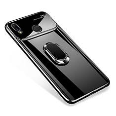 Coque Plastique Protection Integrale 360 Degres Miroir Etui Housse avec Support Bague Anneau Aimante pour Huawei P Smart+ Plus Noir