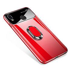 Coque Plastique Protection Integrale 360 Degres Miroir Etui Housse avec Support Bague Anneau Aimante pour Huawei P Smart+ Plus Rouge