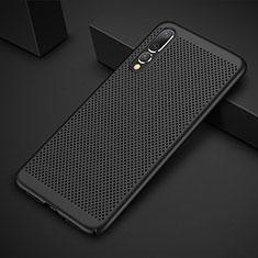 Coque Plastique Rigide Etui Housse Mailles Filet M01 pour Huawei P20 Pro Noir