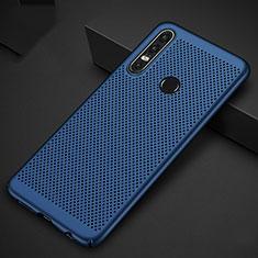 Coque Plastique Rigide Etui Housse Mailles Filet P01 pour Huawei P30 Lite Bleu