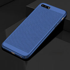 Coque Plastique Rigide Etui Housse Mailles Filet pour Huawei Enjoy 8e Bleu