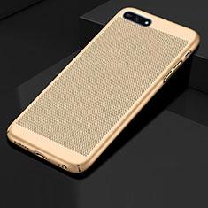 Coque Plastique Rigide Etui Housse Mailles Filet pour Huawei Enjoy 8e Or