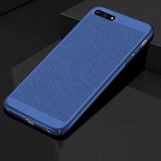 Coque Plastique Rigide Etui Housse Mailles Filet pour Huawei Honor 7A Bleu
