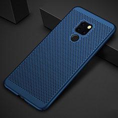 Coque Plastique Rigide Etui Housse Mailles Filet pour Huawei Mate 20 Bleu