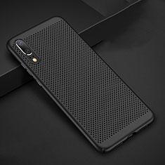 Coque Plastique Rigide Etui Housse Mailles Filet pour Huawei P20 Noir