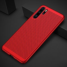 Coque Plastique Rigide Etui Housse Mailles Filet pour Huawei P30 Pro Rouge