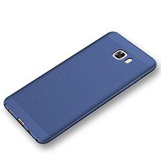 Coque Plastique Rigide Etui Housse Mailles Filet pour Samsung Galaxy C9 Pro C9000 Bleu