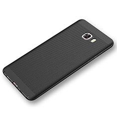 Coque Plastique Rigide Etui Housse Mailles Filet pour Samsung Galaxy C9 Pro C9000 Noir