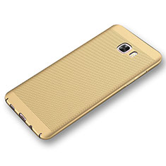 Coque Plastique Rigide Etui Housse Mailles Filet pour Samsung Galaxy C9 Pro C9000 Or