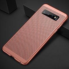 Coque Plastique Rigide Etui Housse Mailles Filet pour Samsung Galaxy S10 Plus Or Rose