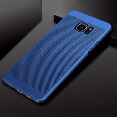 Coque Plastique Rigide Etui Housse Mailles Filet pour Samsung Galaxy S7 Edge G935F Bleu
