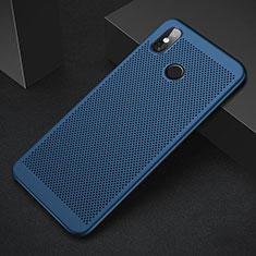 Coque Plastique Rigide Etui Housse Mailles Filet pour Xiaomi Mi 8 Bleu