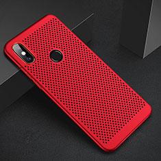 Coque Plastique Rigide Etui Housse Mailles Filet pour Xiaomi Mi A2 Rouge