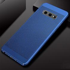 Coque Plastique Rigide Etui Housse Mailles Filet W01 pour Samsung Galaxy S10e Bleu