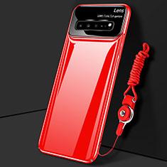 Coque Plastique Rigide Etui Housse Mat M01 pour Samsung Galaxy S10 5G SM-G977B Rouge