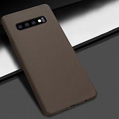 Coque Plastique Rigide Etui Housse Mat M01 pour Samsung Galaxy S10 Plus Marron
