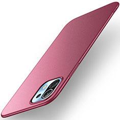 Coque Plastique Rigide Etui Housse Mat M01 pour Xiaomi Mi 11 5G Vin Rouge