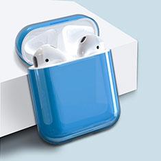 Coque Plastique Rigide Etui Housse pour Boitier de Charge de Airpods Mat Bleu