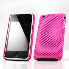 Coque Plastique Rigide Mailles Filet pour Apple iPhone 3G 3GS Rose Rouge