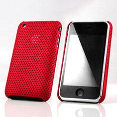 Coque Plastique Rigide Mailles Filet pour Apple iPhone 3G 3GS Rouge