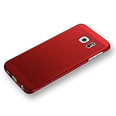 Coque Plastique Rigide Mailles Filet pour Samsung Galaxy S6 Edge SM-G925 Rouge