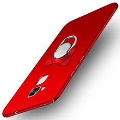 Coque Plastique Rigide Mat avec Support Bague Anneau A02 pour Huawei Honor 7 Lite Rouge