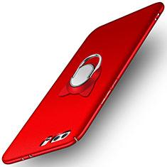 Coque Plastique Rigide Mat avec Support Bague Anneau A02 pour Huawei Honor 9 Premium Rouge