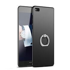 Coque Plastique Rigide Mat avec Support Bague Anneau A02 pour Huawei P8 Noir